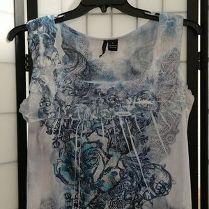 New Directions Blue & White Flowered Top sz Large